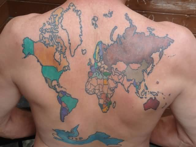 Best African Map Tattoo For Men's Back
