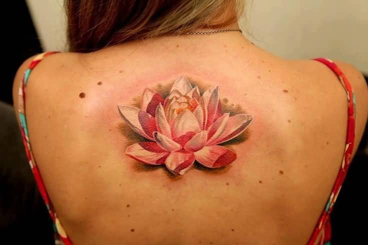 Brilliant 3D Lotus Flower Tattoo On Cool Back