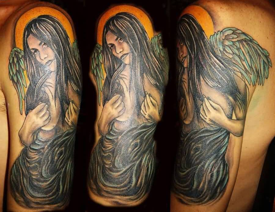 Outstanding Angel Girl Sleeve Tattoo