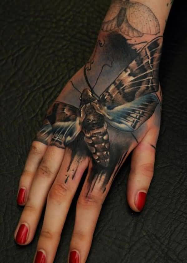Crazy 3D Butterfly Tattoo On Girl's Hand