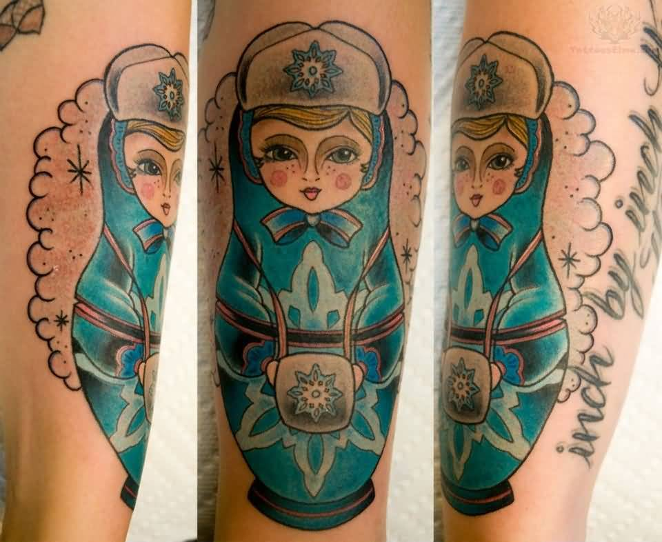 Elegant Tattoo Of Matryoshka Doll On Leg