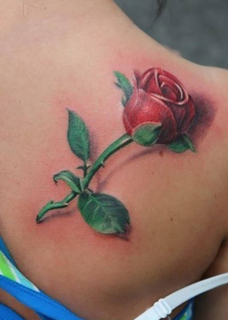 Fabulous 3D Flower Tattoo For Girl's Shoulder