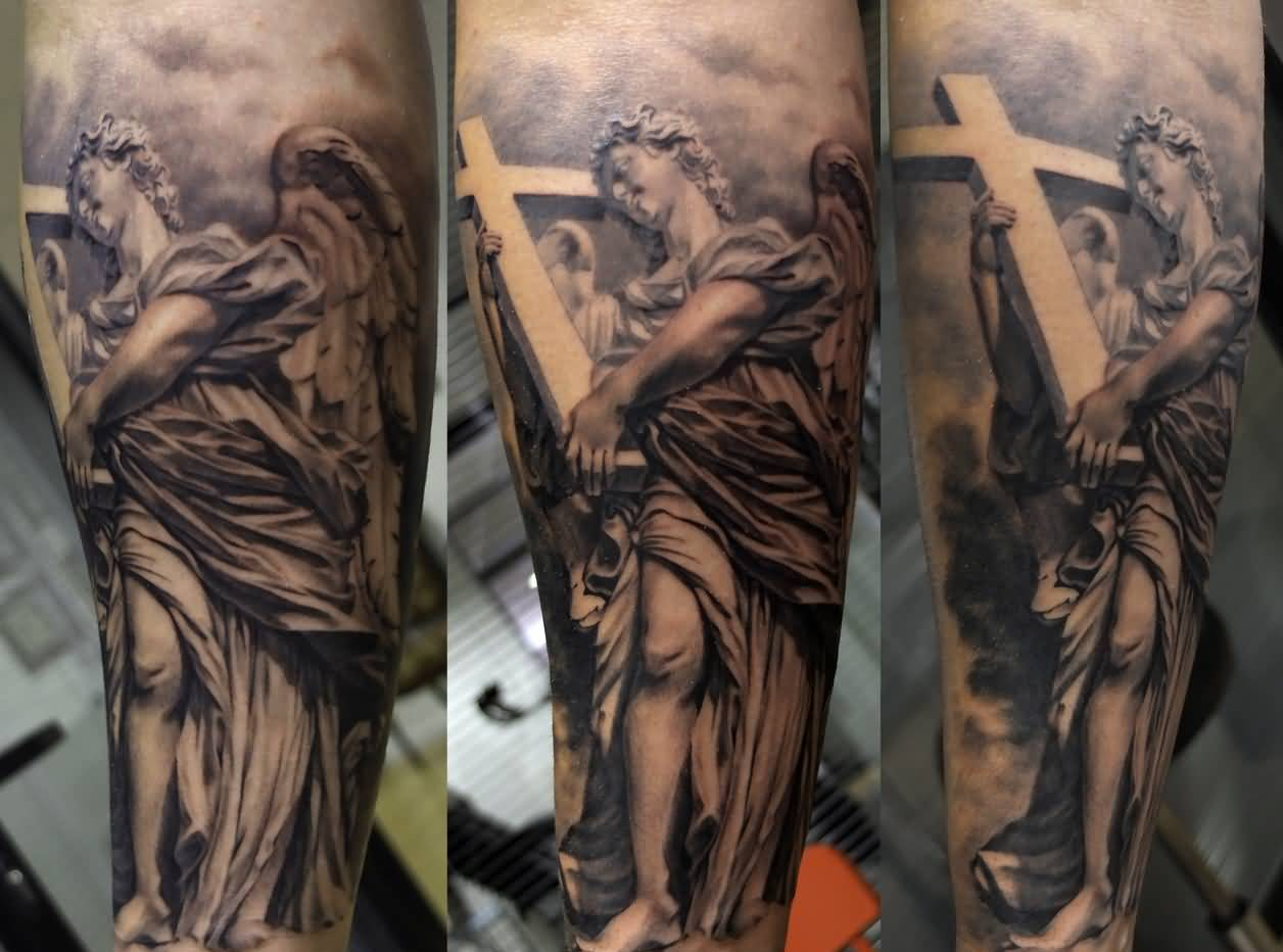 Latest Angel And Cross Leg Tattoo