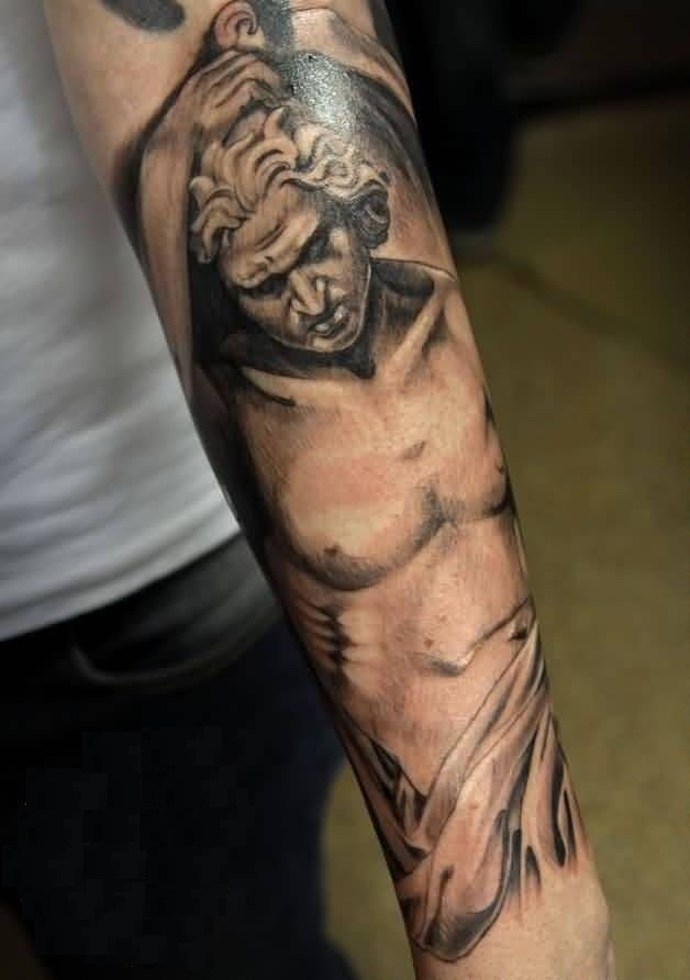Famous Angel Tattoo On Lower Sleeve