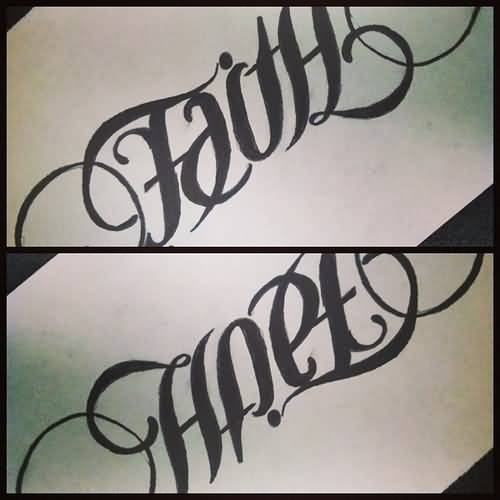 Ambigram Faith And Hope Font Tattoo On Sleeve