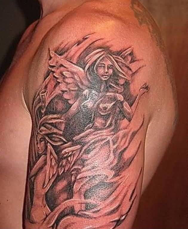 Attractive Angel Tattoo For Men's Sleeve