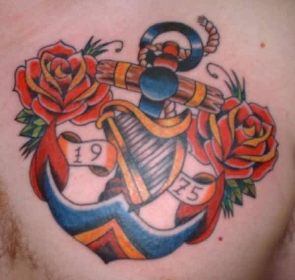 Famous Chest Tattoo Of Anchor Made With Colourful Ink