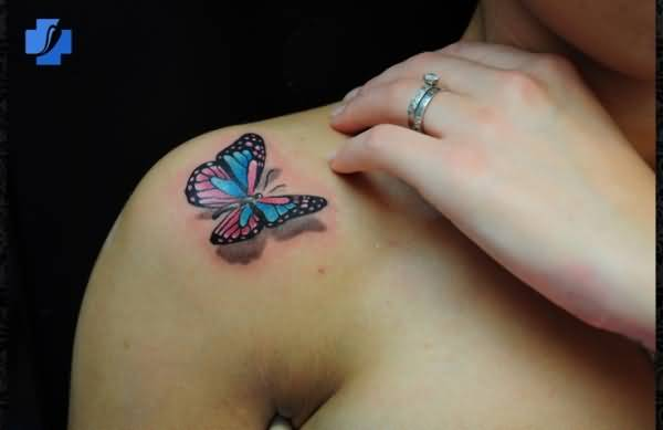 Fantastic 3d Butterfly Tattoo On Shoulder