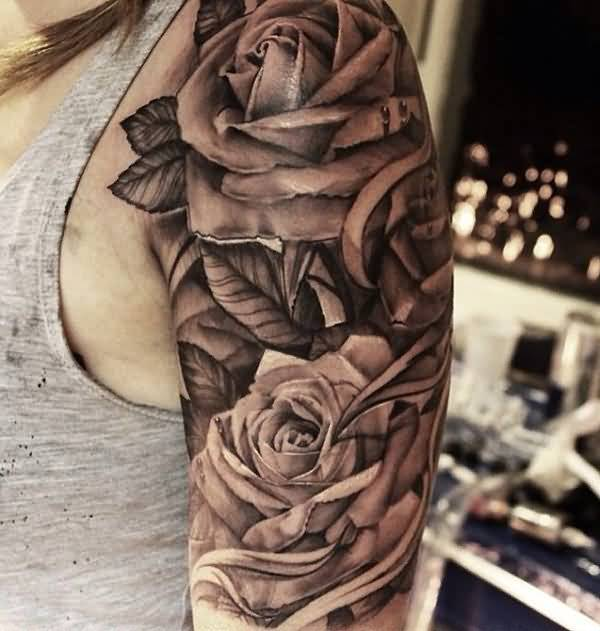 Great 3D Sleeve Tattoo With Flower