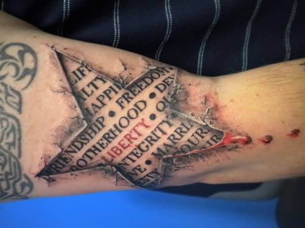 Great Looking 3D Star Ripped Skin Tattoo