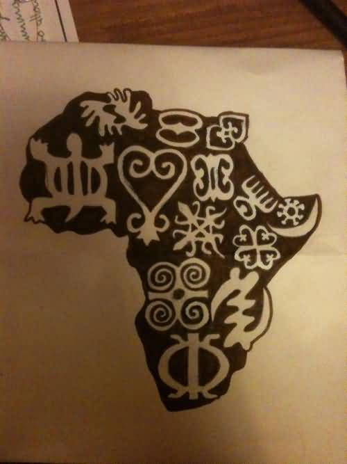 Great Looking African Map Symbol Tattoo Design