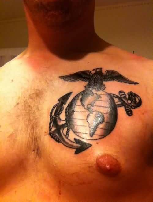 Incredible Chest Anchor Tattoo