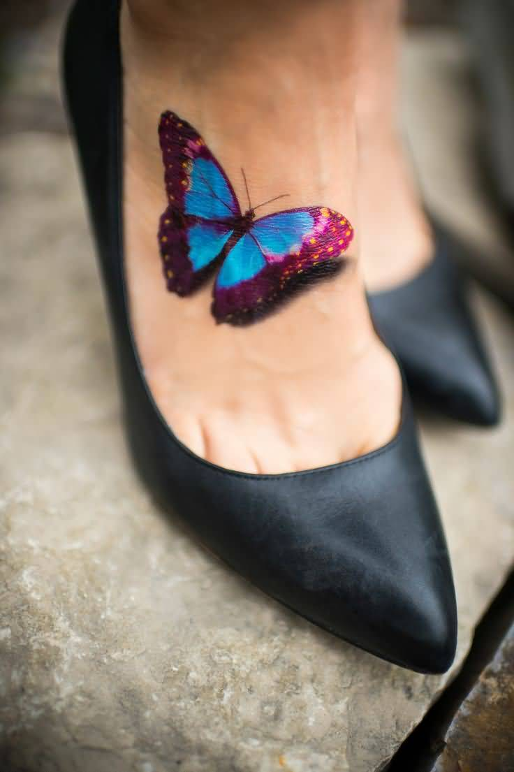 Innovative 3D Butterfly Tattoo On Foot