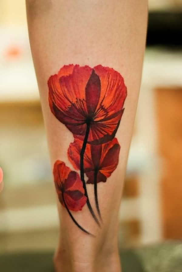 Innovative 3D Flower Tattoo On Leg