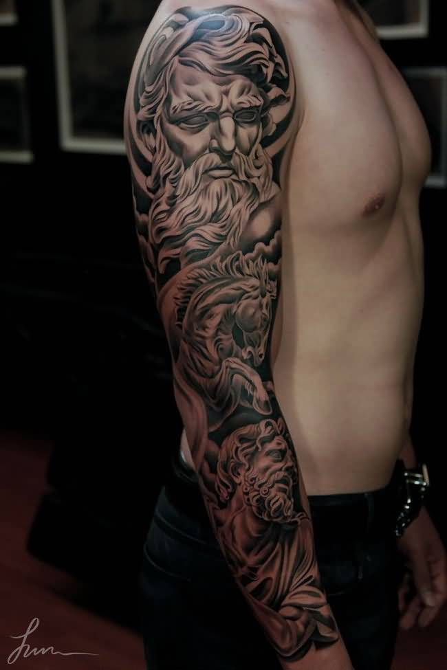incredible 3d sleeve tattoo for men. Black Bedroom Furniture Sets. Home Design Ideas