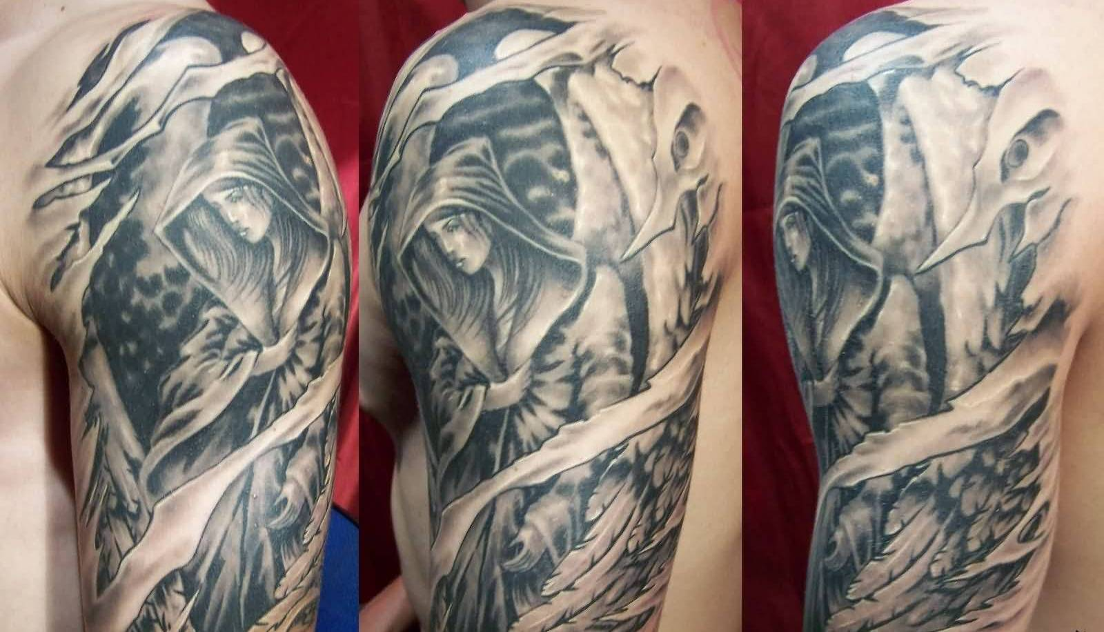 Attractive Angel Sleeve Tattoo For Men