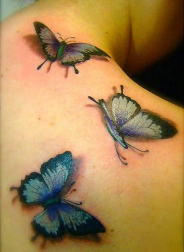 Latest 3D Butterfly Tattoo Design For Girl