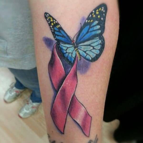 Latest 3D Butterfly Tattoo With Ribbon
