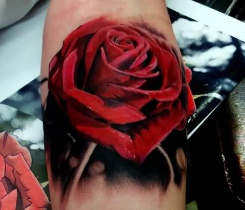 Latest 3D Red Flower Tattoo Made By Black Ink