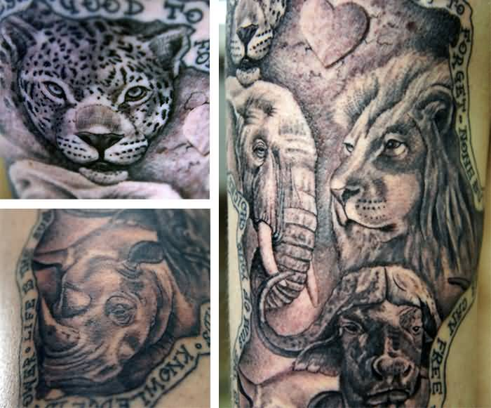 Marvelous African Sleeve Tattoo With Lion