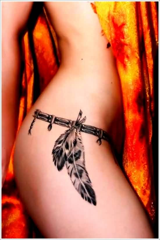 Latest Eagle Feather Tattoo For Girl's Hip