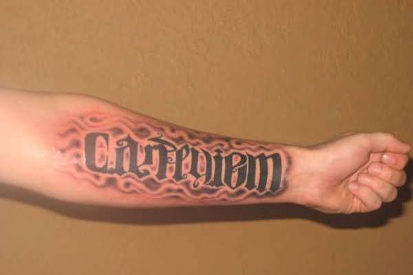 Fascinating Carpediem Ambigram Forearm Tattoo