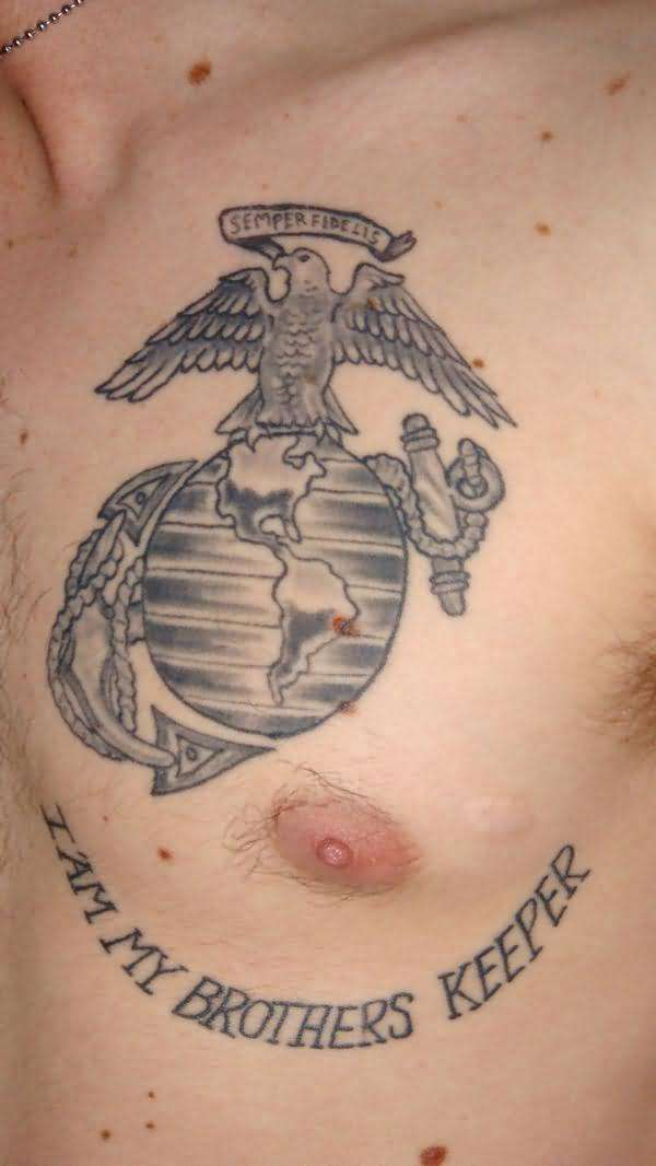 Innovative Chest Tattoo Of Anchor