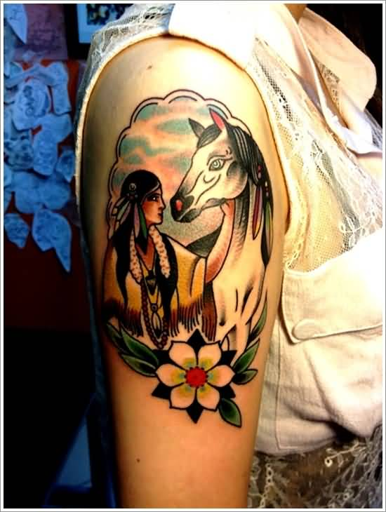 famous luka lajoie native american tattoo on thigh. Black Bedroom Furniture Sets. Home Design Ideas