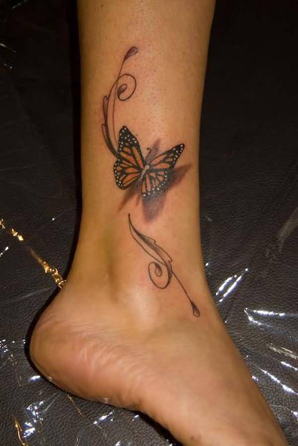 Marvelous 3d Butterfly Tattoo From Girl S Leg Tattooshunter Com