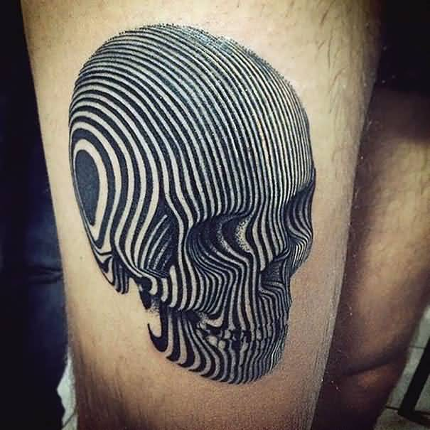 Marvelous 3D Skull Tattoo On Elbow
