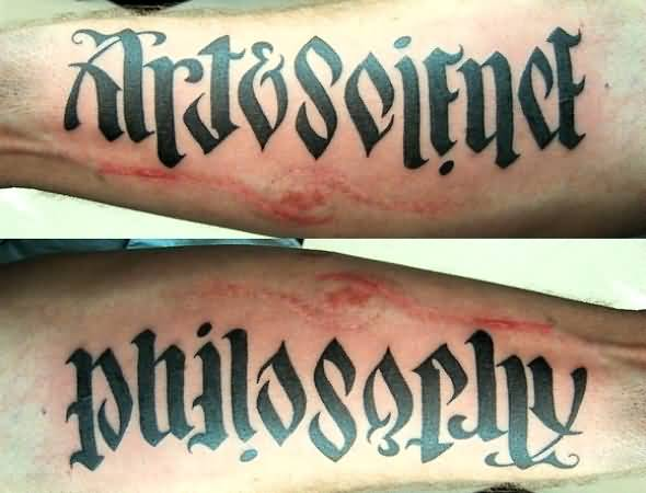 Classy Ambigram Art And Science Tattoo