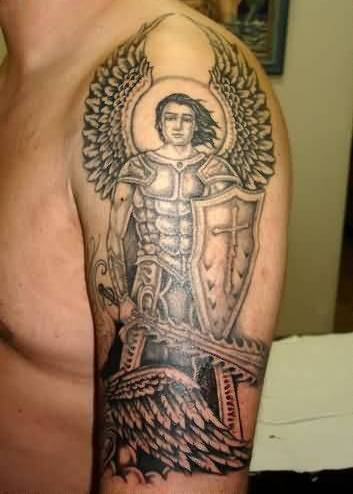 Marvelous Angel Warrior Tattoo For Men Sleeve