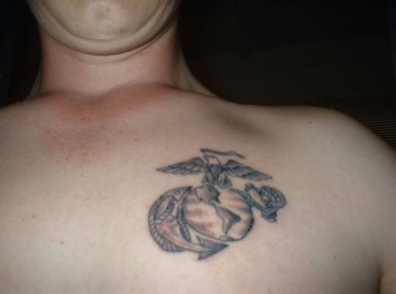 Men Chest Tattoo Of Anchor