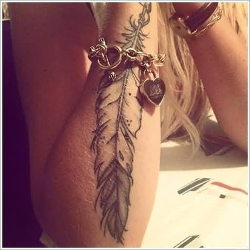 Eagle feather tattoo for girl s arm for Feather tattoo on arm