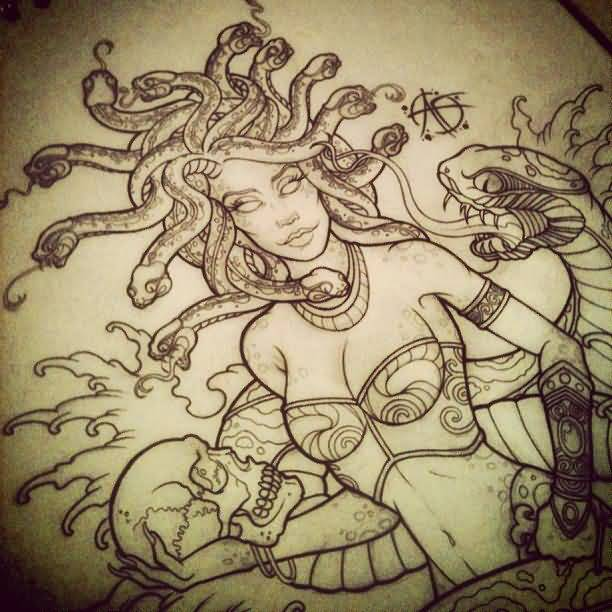 Marvelous Medusa Tattoo Stencil