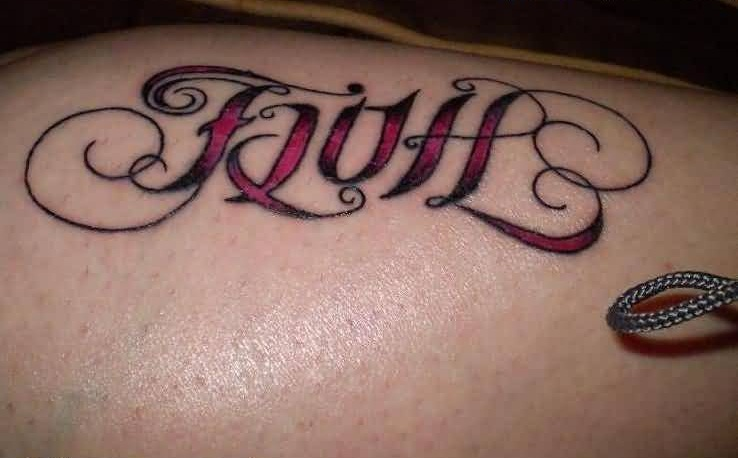 Traditional Faith Text TattooOf Ambigram