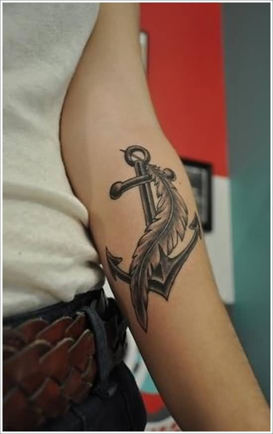 Mind Blowing Eagle Feather Tattoo With Anchor