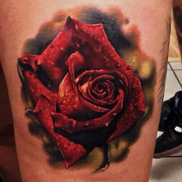 Mind Boggling 3D Flower Tattoo Made With Red Colour