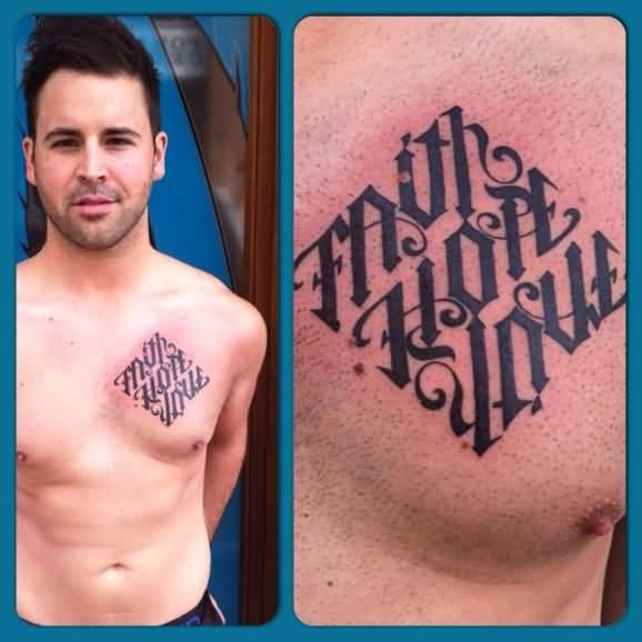 Outstanding Ambigram Font Tattoo For Men's Chest