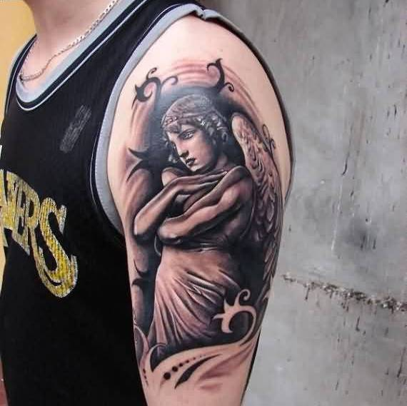 Incredible Angel Lady Tattoo On Shoulder