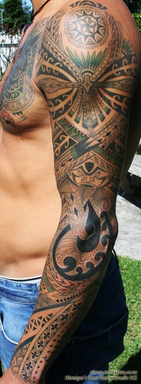 Incredible African Sleeve Tattoo Of Maori