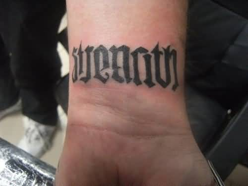 Outstanding Strength Ambigram Arm Tattoo For Men