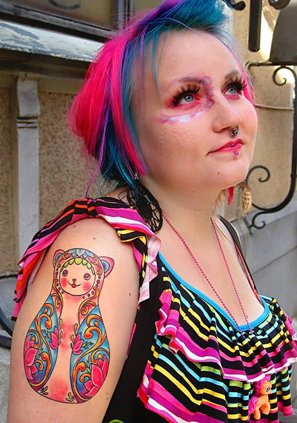 Pink Matryoshka Tattoo For Cool Girl
