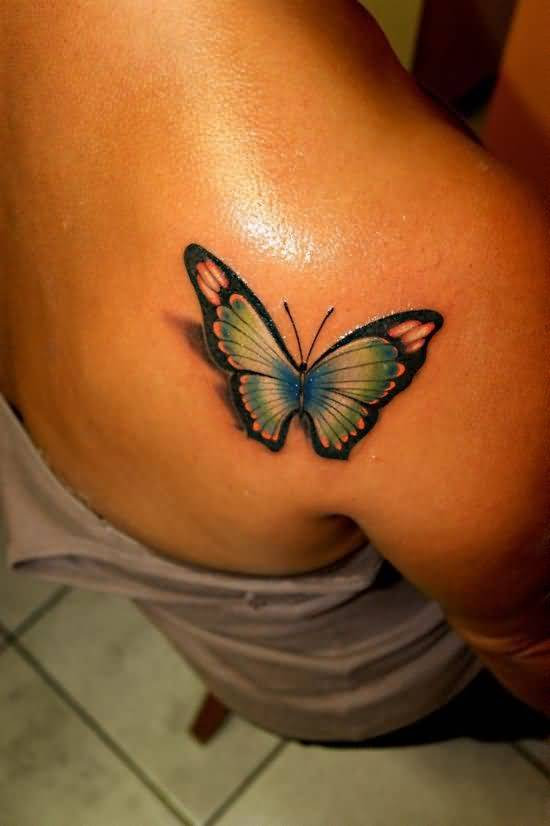 Popular 3D Butterfly Tattoo On Back Shoulder