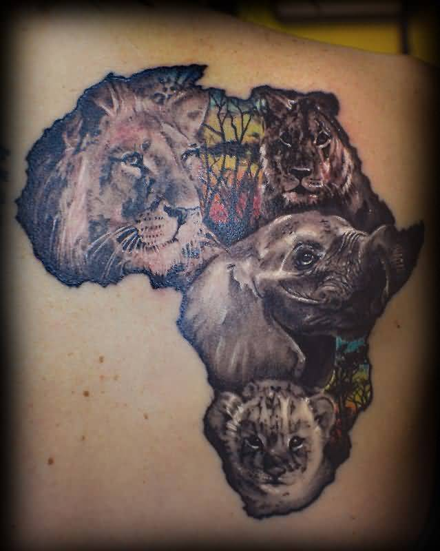 Popular African Lion Tattoo With Map On Back