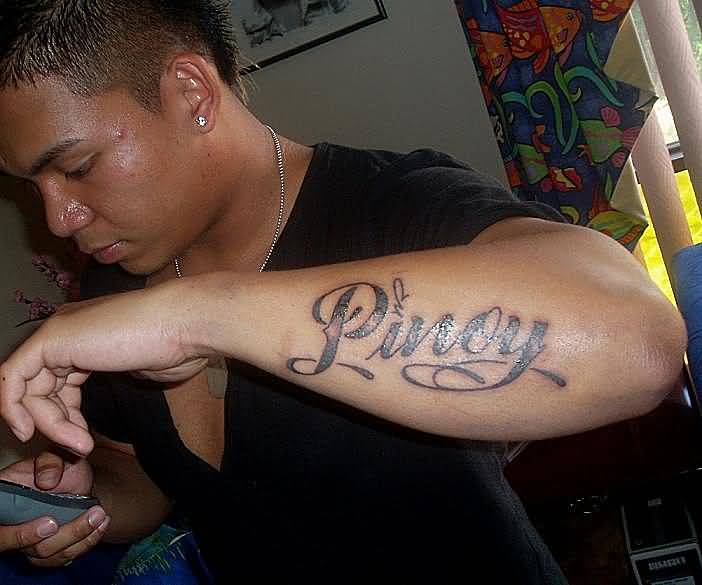 Popular Pinoy Ambigram Forearm Tattoo