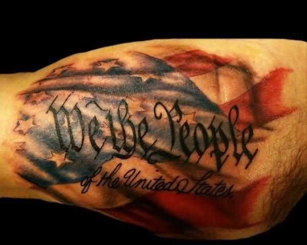 Realistic American Flag Tattoo With Font