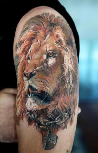 Realistic African Lion Tattoo On Shoulder