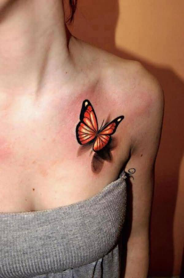 Stunning 3D Butterfly Tattoo On Collar Bone