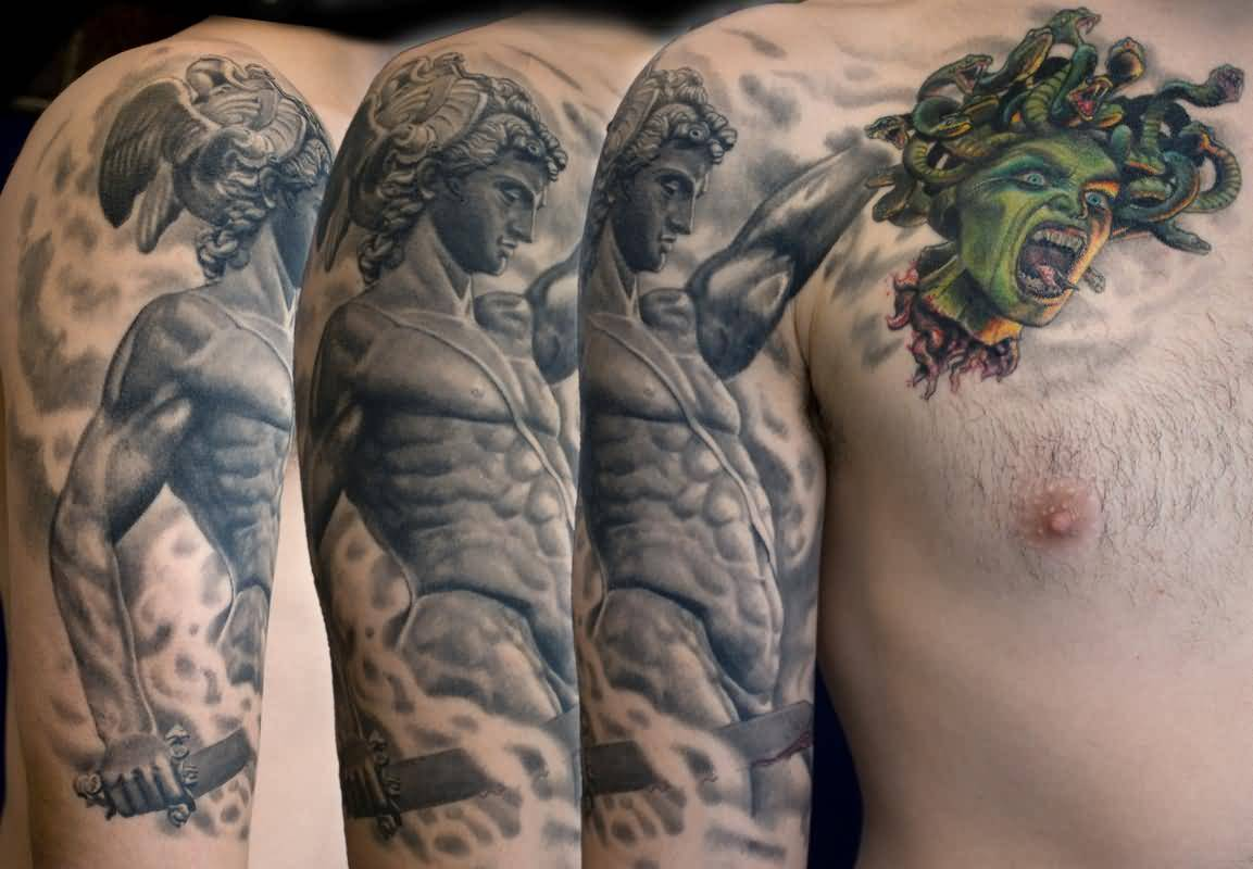 Terrific Medusa Tattoo On Chest